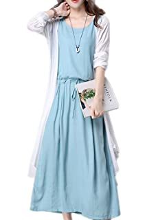Suvotimo Women Maxi Dress Elegant Sleeveless Cotton and Linen Cardigan Dresses