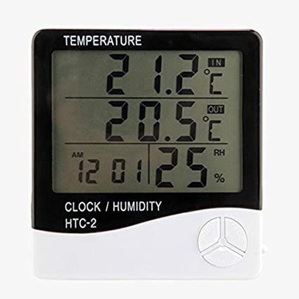 JPONLINE 1pc Weather Station Digital LCD Temperature Humidity Meter Indoor/Outdoor Room IL termometro Clock
