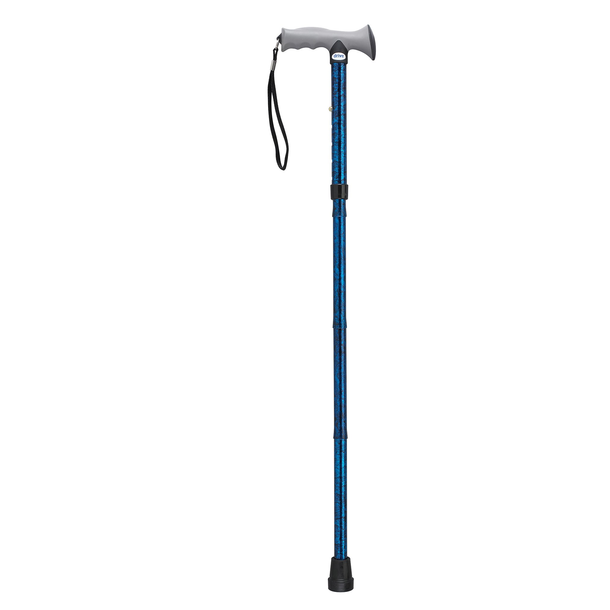 Drive Medical Adjustable Height Aluminum Folding Cane with Comfortable Gel Hand Grip, Blue Crackle