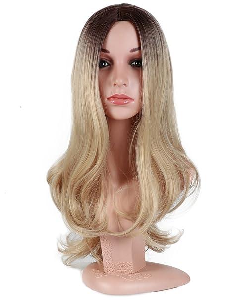 Golden Rule Ombre peluca resistente al calor onda larga sin encaje medio rubia peluca sintética marrón