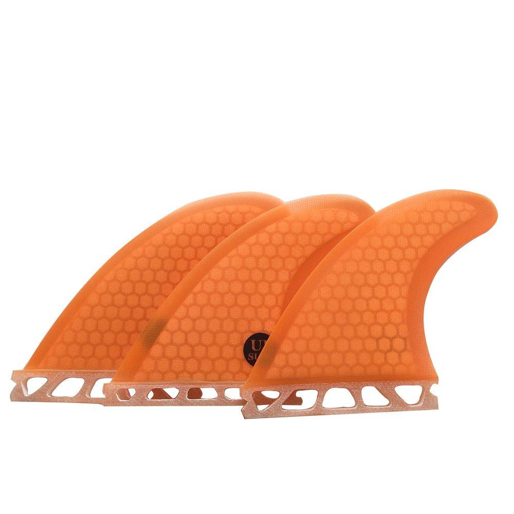 White//Blue//Orange UPSURF Surfboard Tri Fin Future M Size Fiberglass+Honeycomb G5 Thruster Set