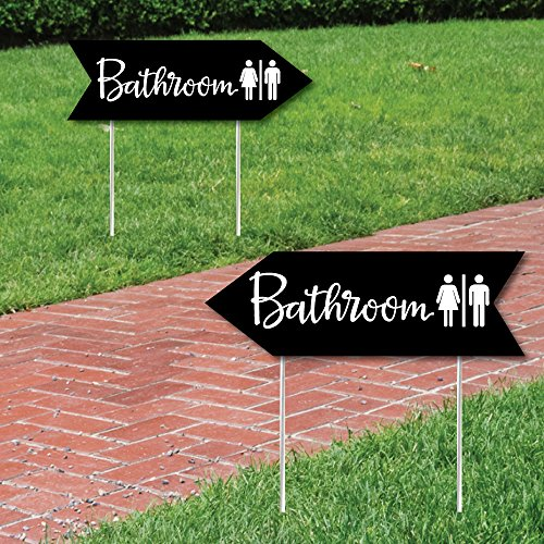 Big Dot of Happiness Black Wedding Bathroom Signs - Wedding Sign Arrow - Double Sided Directional Yard Signs - Set of 2 Bathroom (Party Directional Sign)