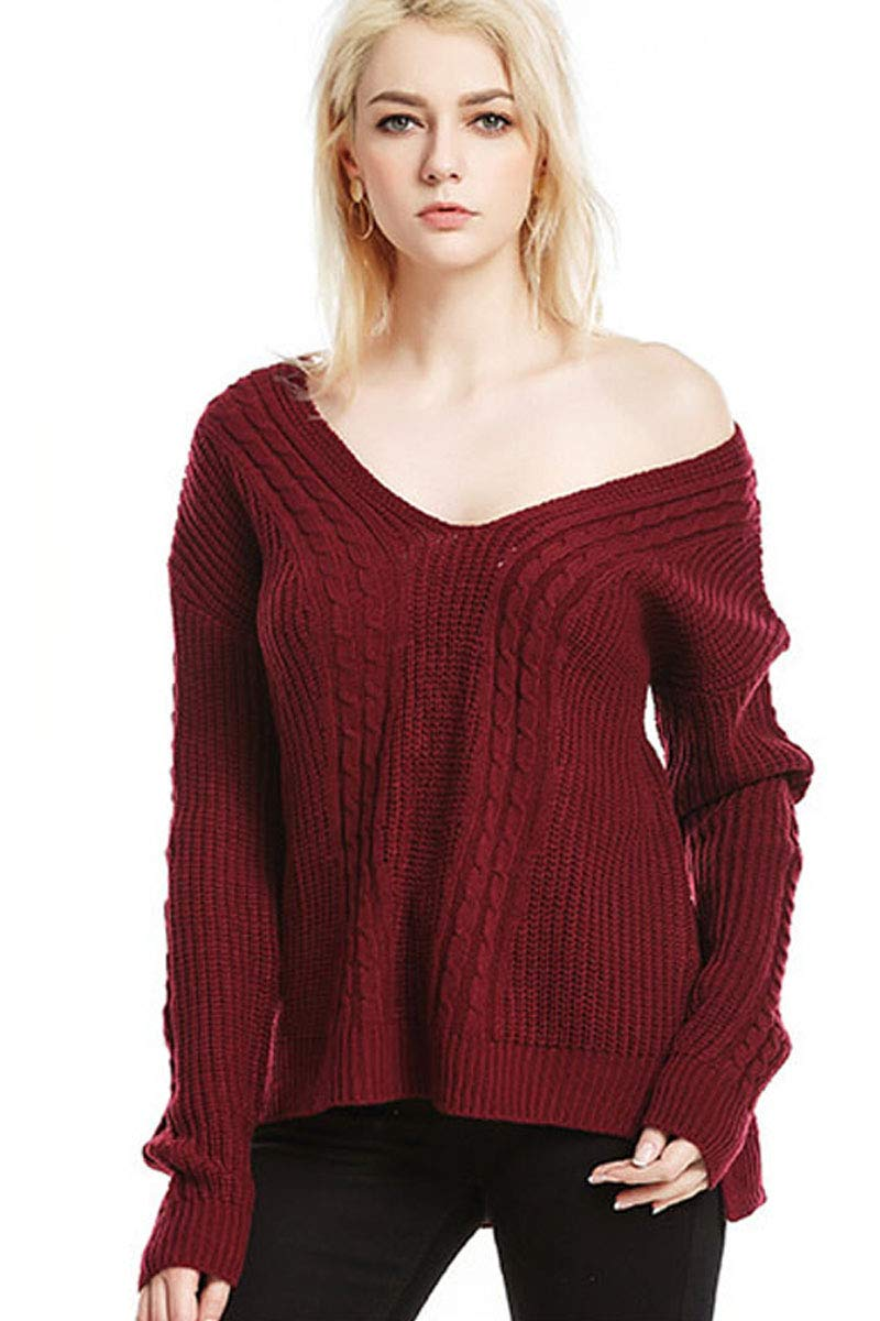 Womens Deep V Neck Sexy Fashion Knit Fashion Textured Loose Fit Baggy Fashion Solid Jersey Longline Sweater Tops Blouse Red L