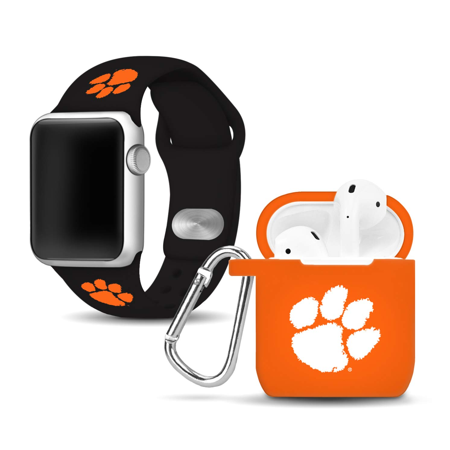 Affinity Bands Clemson Tigers Silicone Watch Band and Case Cover Combo Compatible with Apple Watch and AirPod Case by Affinity Bands
