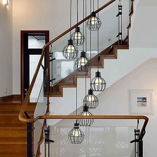 MLSHLF LAMP 8 Bolas Escalera en Espiral Araña Moderna Minimalista Araña Larga Villa Araña Creativa Sala de Estar nórdica Lámpara de Escalera Color Negro E27 40x180cm: Amazon.es: Hogar