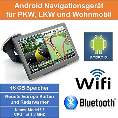 17, 8cm 7' Zoll, Android Navigationsgerä t, Navigation, WiFi, Neuste EU Karten, Radarwarner, Tablet PC, Internet, Wohnmobil, LKW, PKW, 16GB Speicher, HD, AV-IN, Bluetooth, Kostenlose Kartenupdate, GPS 8cm 7 Zoll Elebest AN-7444
