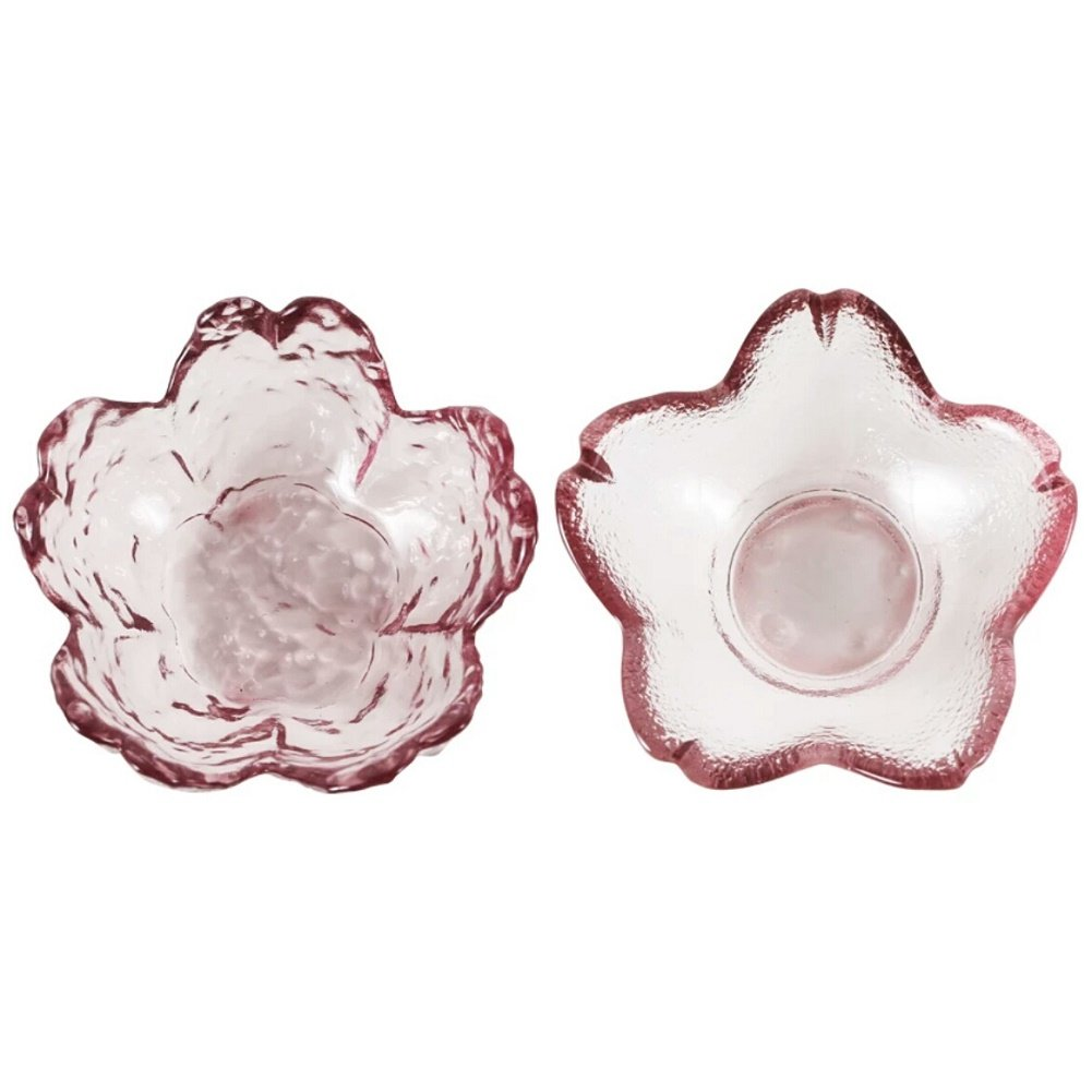 Mini Cherry Blossom Shaped Transparent Glass Dessert Plates, Lead Free Glass Bowl Sushi Saucers from Hoocozi, 2Pcs, Pink