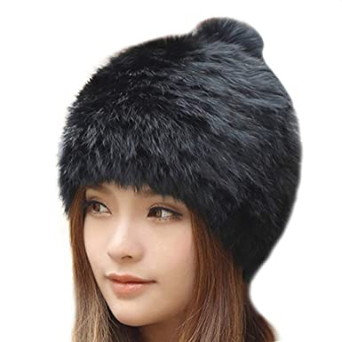 74b2ac3a153 Winter Beanies Women Real Mink Fur Hat Winter Hats Women Fox Fur Pom Poms  Caps Brand Bonnet Casual Beanie SkulliesHats at Amazon Women s Clothing  store