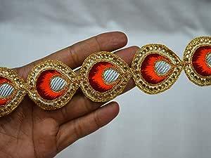 2 Yard latest Indian Turquoise Blue and Gold Beaded Kundan Stone Work Lace trim