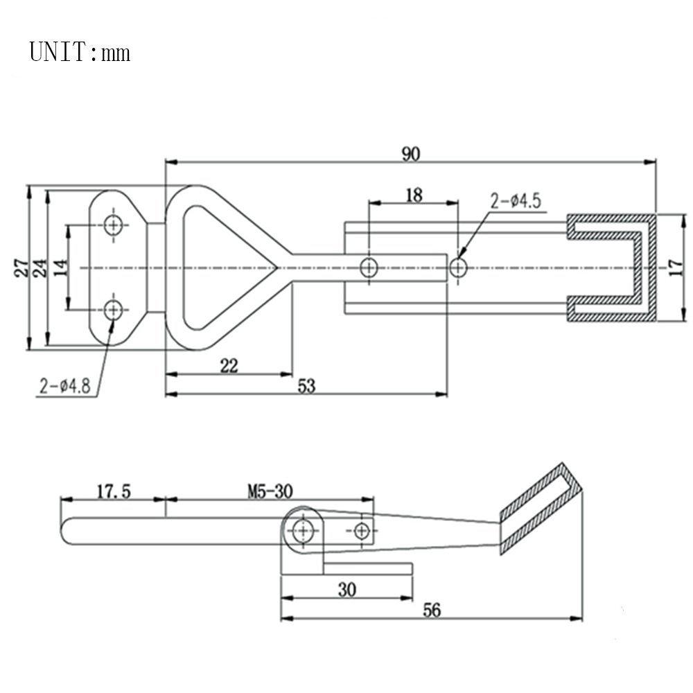 Imagine 4/pcs Loquet Sauterelle 99,8/kilogram 100/kg Holding Capacit/é 4001/Outil /à Main Pull Action Latch type de Sauterelle 4001/en forme de triangle /à levier