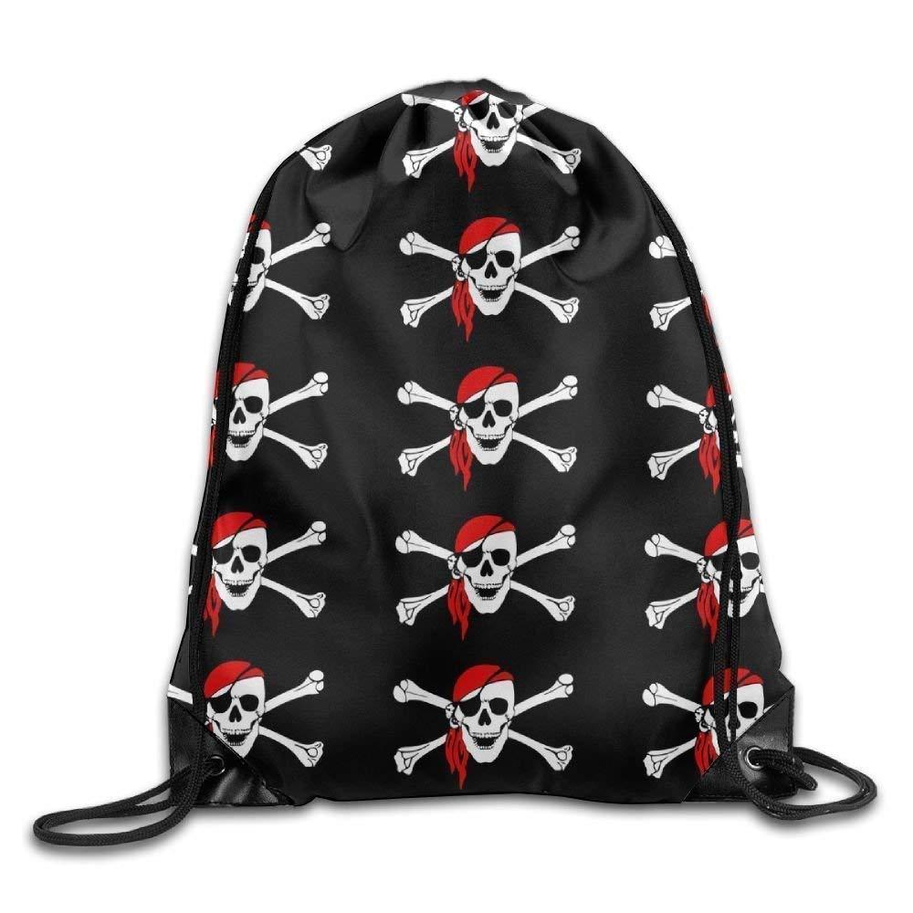 Liumiang Sacs à Dos,Sacs de Sport,Sacs à Cordon, Eco-Friendly Pirnt Unisex Gym Bag Pirate Skull Print Exotic Drawstring Backpack Rucksack Shoulder Bags Gym Bag Sport Bag
