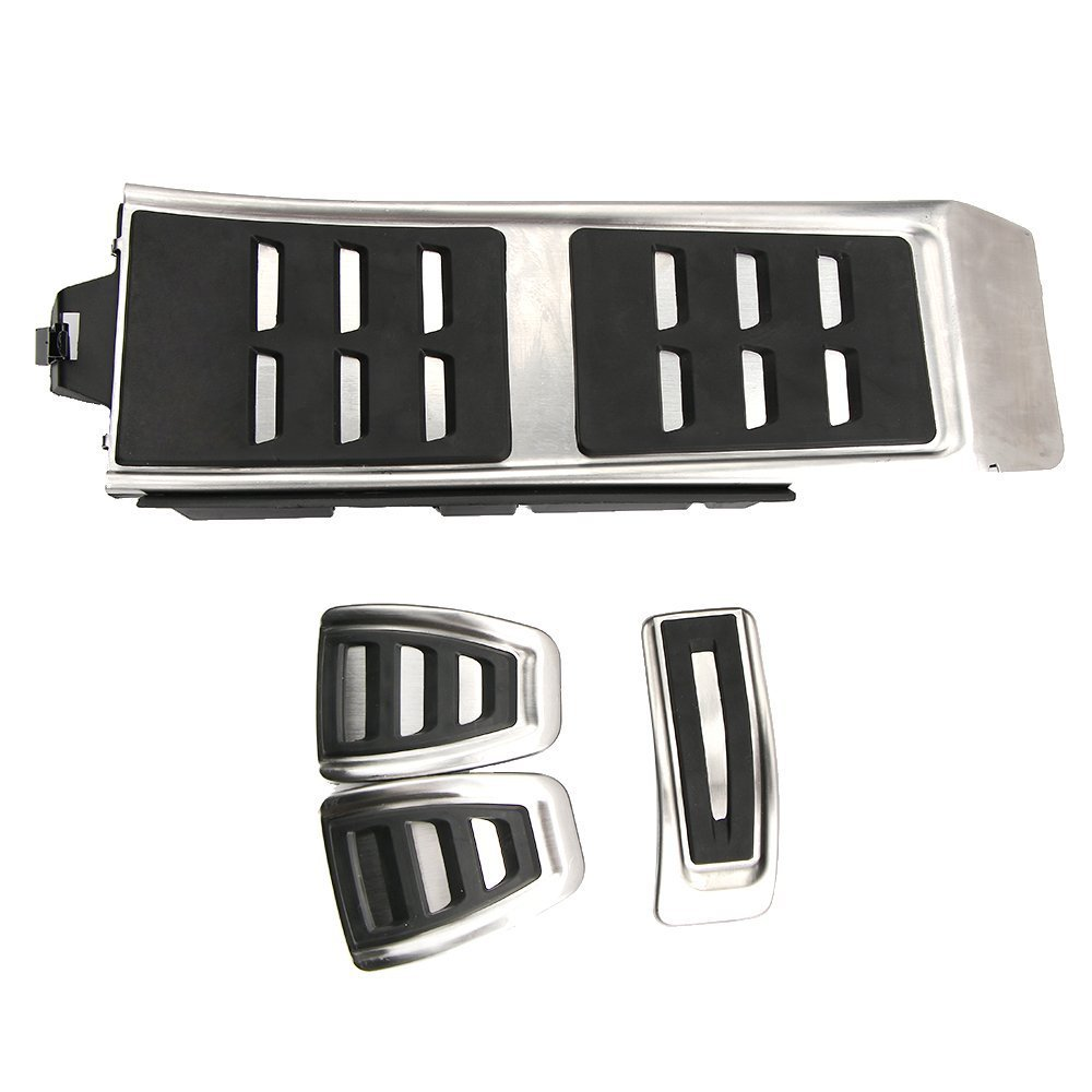 No Drill Gas Brake Pedal Stainless Steel Anti-slip Accelerator Brake Pedal Cover Fits A4 S4 A5 S5 Q5 A6 S6 A7 S7 2012- 2017(MT) WANWU