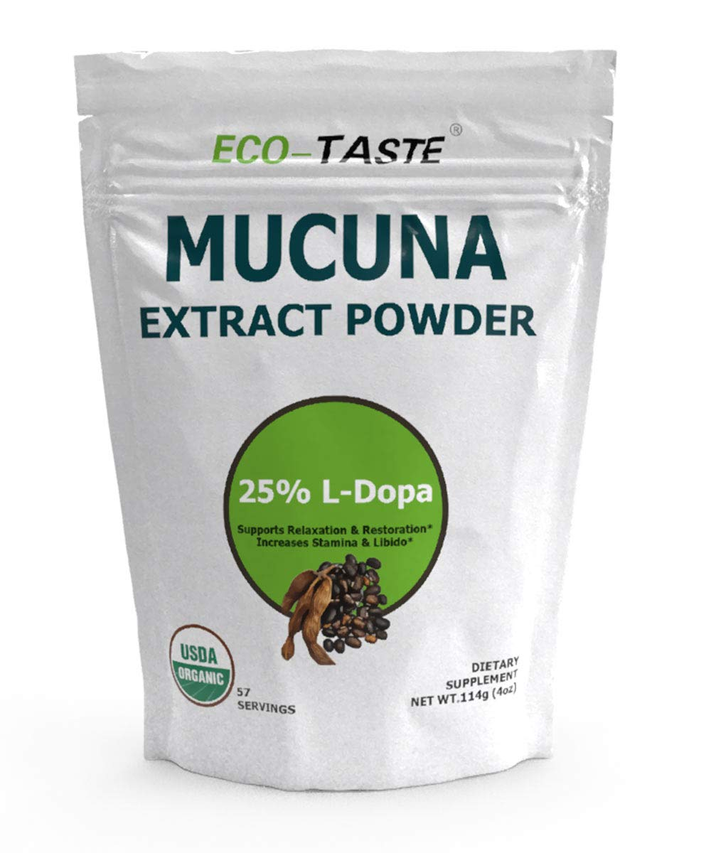 Organic Mucuna Pruriens Extract Powder, 25% L Dopa (Kapikachhu, Velvet Bean) for Relaxation, Mood and Brain Health, 114 Grams