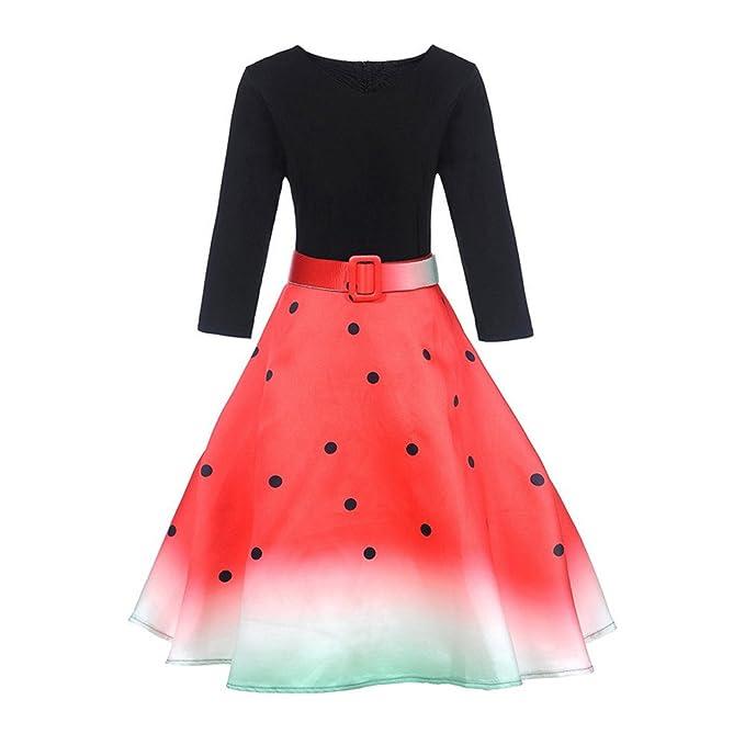 Vestido con manga 3/4,Morwind vestido vintage con volantes y estampado vestido Hepburn vestido de la dama de honor vestidos de fiesta vestido evasé: ...
