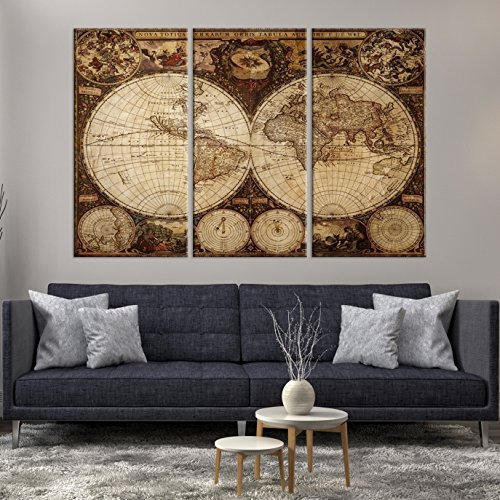 Amazon.com: Old Antique World Map Wall Art, 3 Panel Old World Map ...
