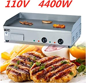 TFCFL Electric Tabletop Griddle Grill 110V Restaurant Countertop Flat Grill Stainless Steel Adjustable Temperture Control for Commercial Outdoor Cooking BBQ 110V 3000W / 110V 4400W (110V 4400W)
