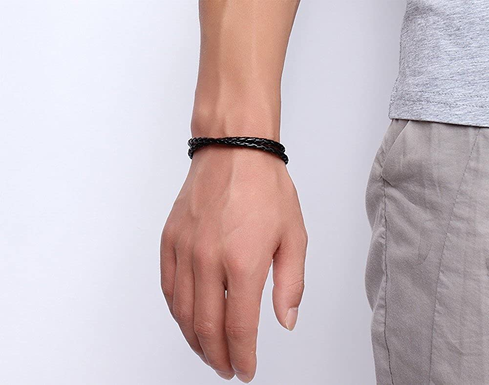 Unisex Simple Black Braided PU Leather Double Wrap Bracelets with Stainless Steel Magnetic Clasp 4 Size