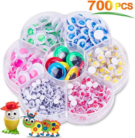 700PCS Googly Eyes Doll Crafts Kids Stick On Scrapbook Toys For Decoration Gift