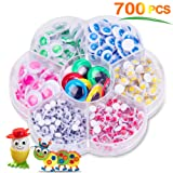 700 Pcs Multiple Colors Wiggle Googly Eyes with Self-Adhesive, Round Wobbly Eyes for DIY Scrapbooking Crafts Decorations