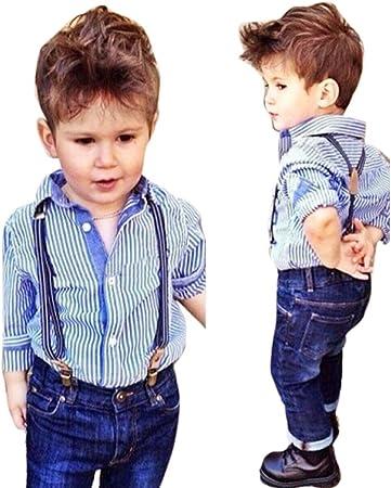 Bebé Niños Outfit Set, Franterd rayas camisa Tops babero + ...