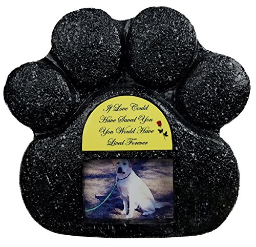 If Love Could Black Paw Print Pet Memorial Indoor Faux Stone Urn for Dog or Cat Ashes with Photo Window and Sentiment by Imprints Plus (1014 blk-yello)