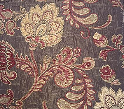 amazon com burgundy and gold floral brocade 58 inch fabric
