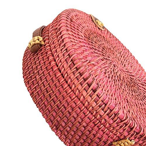Circle Chaufly Crossbody hombro playa Rojo Retro Straw verano mujeres casual bolsa rattan rwqIT6r