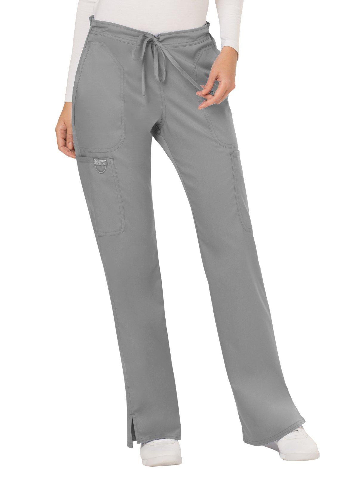 Cherokee WW Revolution WW120 Mid Rise Drawstring Cargo Pant Grey XS Tall