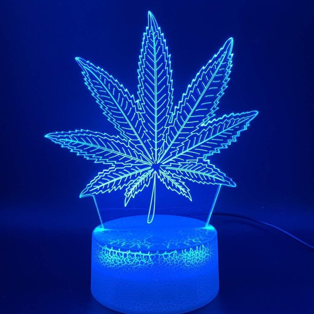 Illusion 3D Lámpara de luz nocturna LED Botánica Cannabis Marihuana Oficina Bar Habitación Lámpara decorativa USB o luz de noche con batería