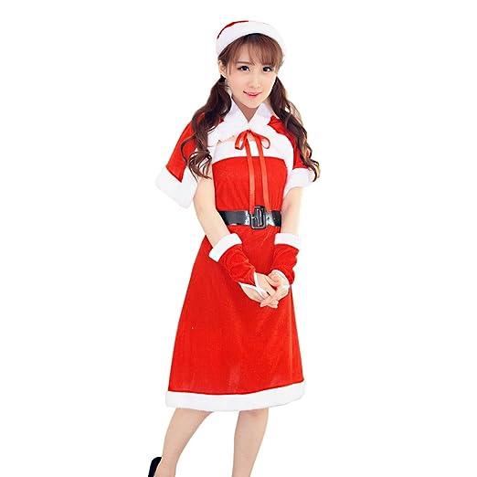 f2831c7c265f Amazon.com: VANSOON Womens Sexy Santa Christmas Costume Fancy Dress Xmas  Office Party Outfit Casual Mini Dress: Clothing