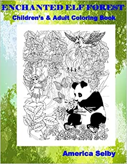 Amazon.com: Enchanted Elf Forest Children\'s and Adult Coloring Book ...