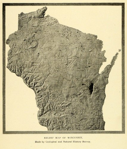 Wisconsin Antique Map (1913 Print Wisconsin Relief Map Geologic Natural History Topography Cartography - Original Halftone Print)