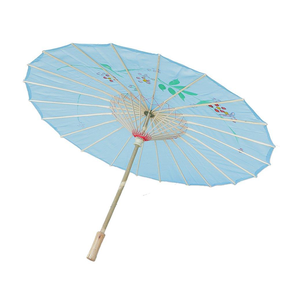 MagiDeal Chinesischen Regenschirm - Asiatischen Sonnenschirm - Tanz Schirm - Tanzen Requisiten - Handgemacht - aus Stoff - Himmelblau STK0156016944