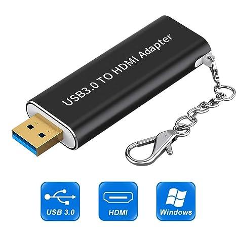 Adaptador USB 3.0 a HDMI, Adaptador USB a HDMI con Llavero, Gráficos de Video HD 1080P Adaptador Convertidor de HDTV TV Adaptador de Audio Compatible ...