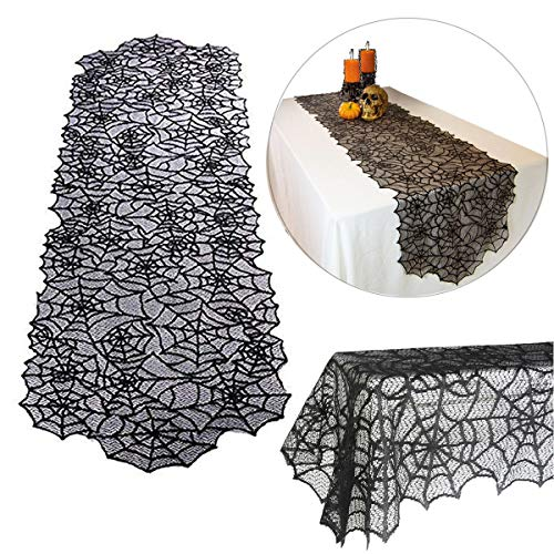"""Halloween Spider Web Table Cloth Decor Polyester Lace Table Runner Linens Cover Tablecloth Topper Decorations Home Décor Festive Dinner Party Supplies, 20"""" x 80"""" ()"""