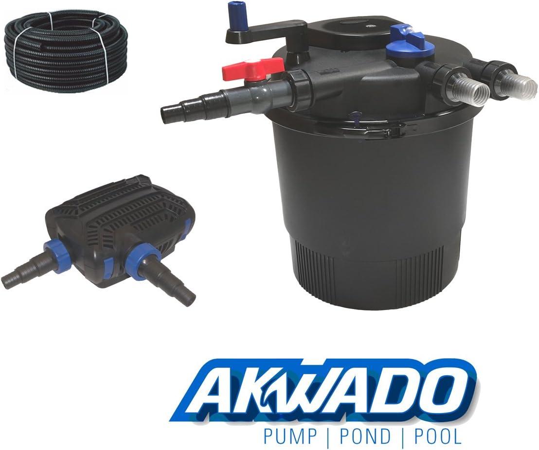 36 W UVC Kl/ärer und Teichpumpe 8000 l//h f/ür Teich Koi usw. Akwado Druckfilter-Set CPF-20000 inkl