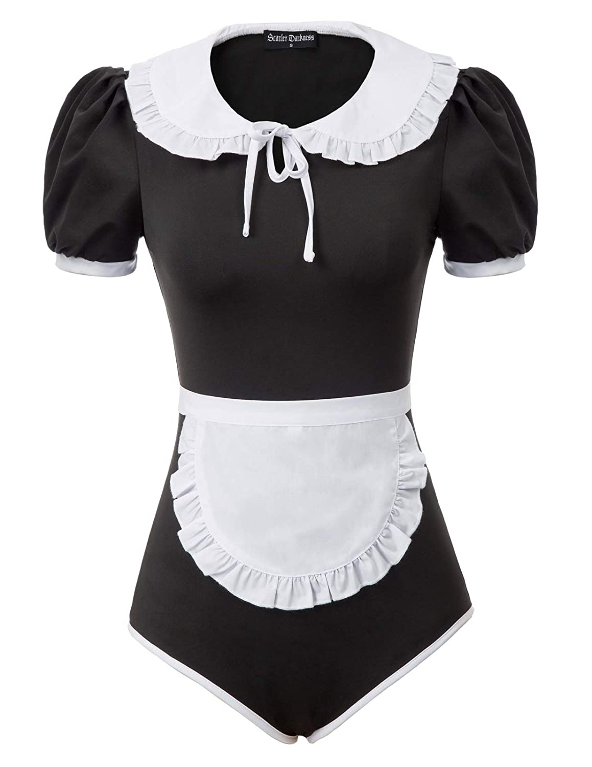 SCARLET DARKNESS Women Short Sleeve Bodysuit Lapel Collar Leotard Maid Suit