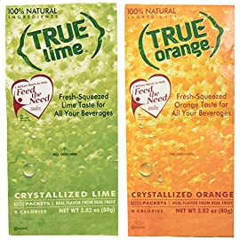 True Lime and True Orange Bulk Dispenser Packets 100ct (2pk Variety). Sugar Free, Natural Flavored Water Enhancer, Packets Are Great Powdered Drink Mix for Paleo Diet, Atkin's Diet. 6 <p>100% Delicious Lime and Orange Flavor for Water, Tea, and Recipes Limes and oranges are a refreshing, healthy, and super versatile fruit, and True Citrus has the perfect crystallized True Lime and True Orange packets that will help you enjoy their fresh-squeezed taste anywhere you go! Made from lime juice and oils and simple ingredients, our True Lime and True Orange packets are easy to carry and simple to mix into water, tea, cocktails, and more for a revitalizing beverage. They're also great for seasoning and any recipe that calls for lime or orange juice too. With 0 calories, 0g carbs, and 0g sugars in every serving, True Lime and True Orange are a must-have for any citrus lover! Includes: 1 True Lime Dispenser Pack 100ct & 1 True Orange Dispenser Pack 100ct 100% Natural. 100% Delicious. 100% Convenient. No Artificial Sweetners, No Preservatives, No Sodium, No Gluten 1 Packet = the taste of 1 citrus wedge; 2 Packets = 1 TBSP Juice. Enjoy fresh-squeezed Lemon anywhere! Great for Offices and Lounges. Add to beverages, baked goods or cooking</p>
