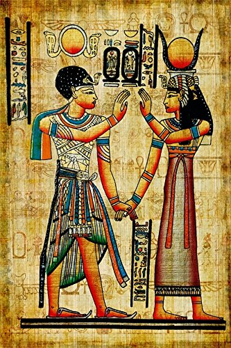 Leowefowa 3X5FT Ancient Egyptian Mural Painting Backdrop Vinyl Photography Background Egypt Pharaoh Hieroglyphics Shabby Chic Kraft Wallpaper Historic Culture Interior Decoration Photo Studio Prop