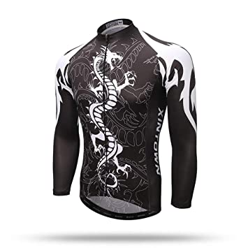 Pinjeer Black Background Dragon Printing Breathable Men s Cycling Jersey  Clothing Spring Autumn Outdoor Bike Riding Jersey 7371a5f31