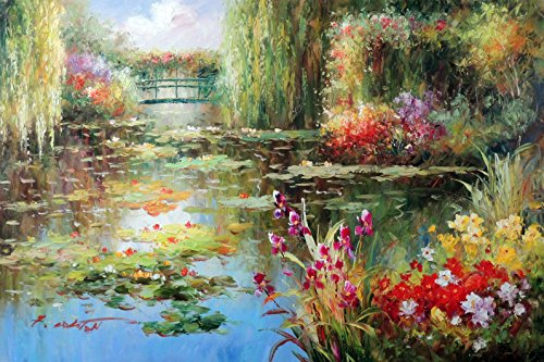 100% Hand Painted Lily Pond Weeping Willow Trees Purple Iris Flowers Canvas Oil Painting for Home Wall Art by Well Known Artist, Framed, Ready to Hang (Framed Purple Iris)