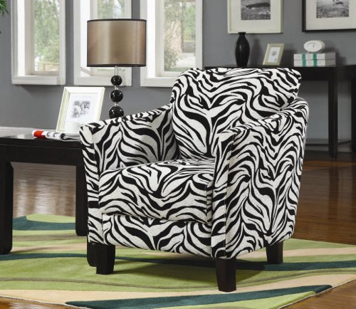 Zebra print fabric upholstered side accent chair with espresso wood finish legs