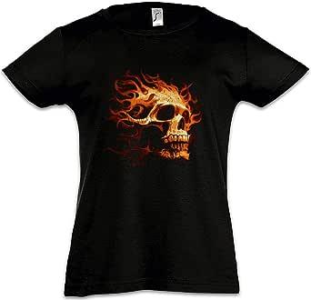 Urban Backwoods Burning Skull I Camiseta para Niñas Chicas niños T-Shirt Black