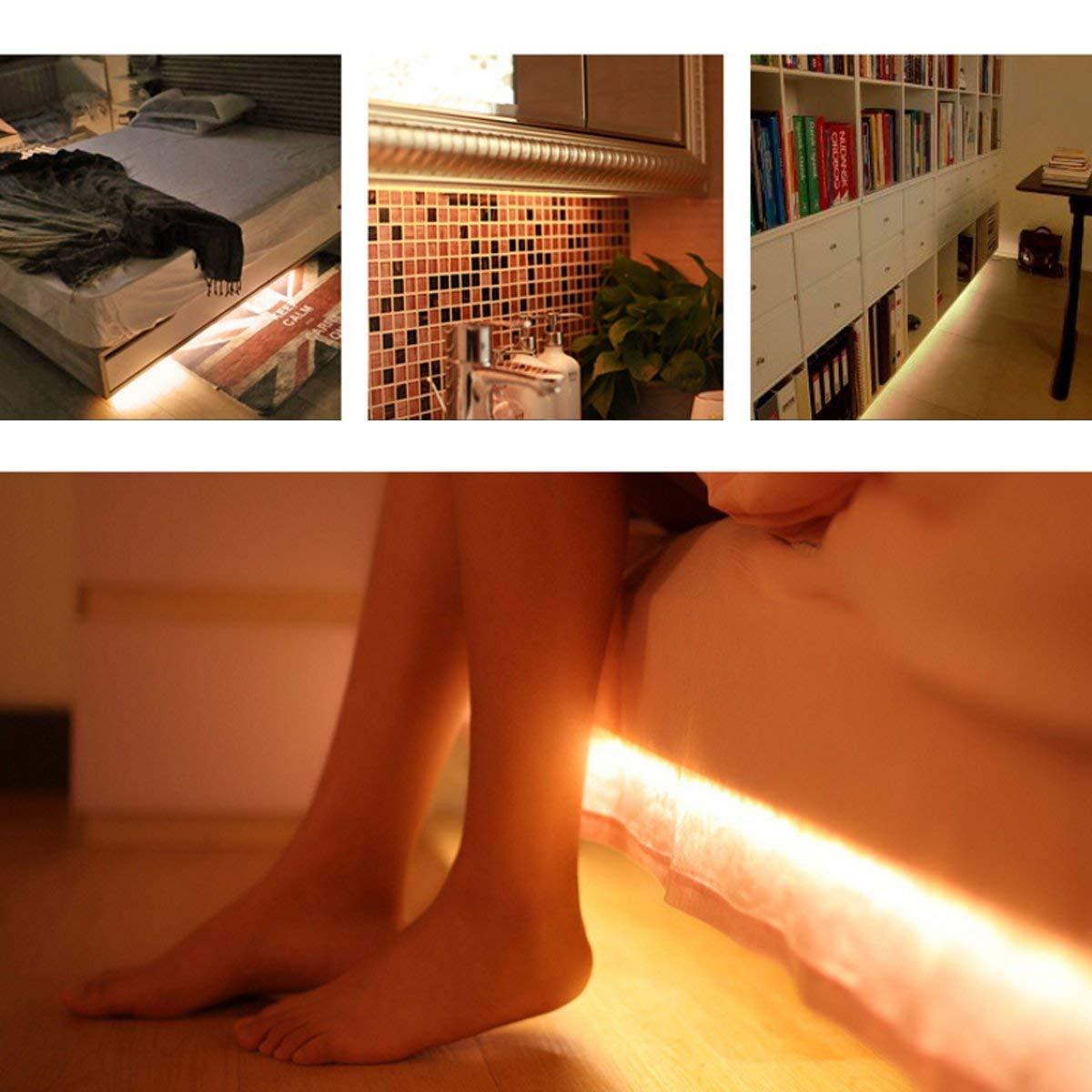 funciona con 4 pilas AAA, No Incluidas 150CM Tiras Leds Iluminaci/ón OriFiil 45LED 1.5M Luz Armario Luces LED Nocturna con Sensor de Movimiento para Pasillo Ba/ño Cocina Escalera