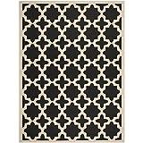 Safavieh Courtyard Collection CY6913-266 Black and Beige Indoor/ Outdoor Area Rug (9' x 12')