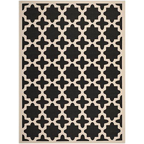 Safavieh Courtyard Collection CY6913-266 Black and Beige Indoor/ Outdoor Area Rug (9' x 12') by Safavieh