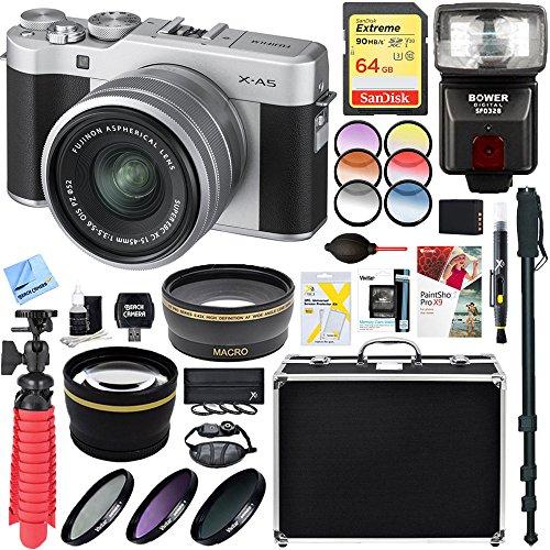 Fujifilm 16568896 X-A5 Mirrorless Digital Camera w/XC 15-45mm f/3.5-5.6 OIS PZ Lens Kit (SIlver) + 64GB Memory & Flash Accessory Bundle
