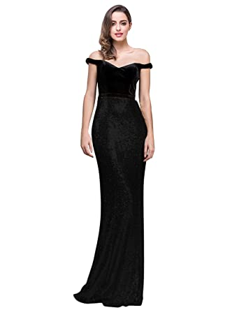 1b34ddbad360 LMBRIDAL Womens Off Shoulder Sequins Evening Dress Mermaid Prom Gown Long  Black 2