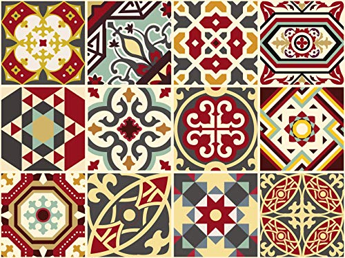 (The Nisha 24 PC Pack Art Eclectic Peel and Stick Wall Sticky Backsplash Vinyl Waterproof Removable Tile Sticker Decals for Bathroom & Kitchen, 4x4 Inch, Byzantine Empire 1273)