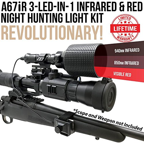 Wicked Lights A67iR 3-LED-in-1 (850nm IR, 940nm IR, Red LED) Infrared & Red Night Hunting Light Kit with Intensity Control for Night Vision Devices